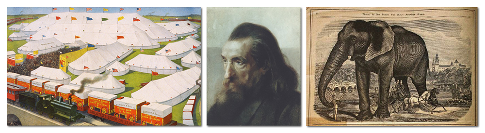 Collage of three images from the 19th century. On the left is a color illustration of a circus with train, midway, and tents. The center image is a portrait of Hachaliah Bailey. He is an older gentleman with long hair and a long beard. On the right is a broadside advertising a circus elephant attraction from a 19th century newspaper.